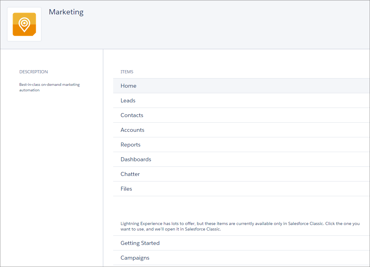 Marketing App Setup Menu